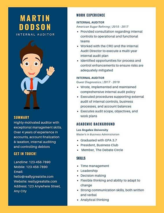 internal auditor resume template
