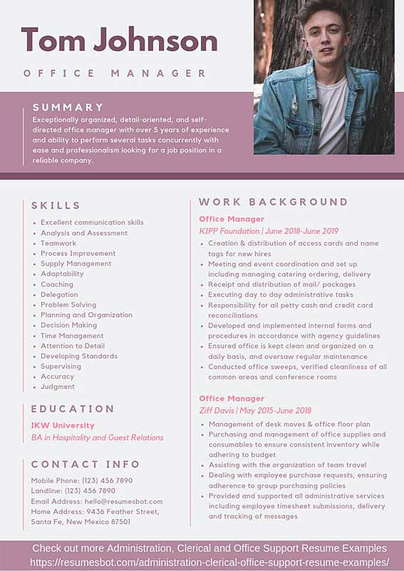 resumes examples office manager