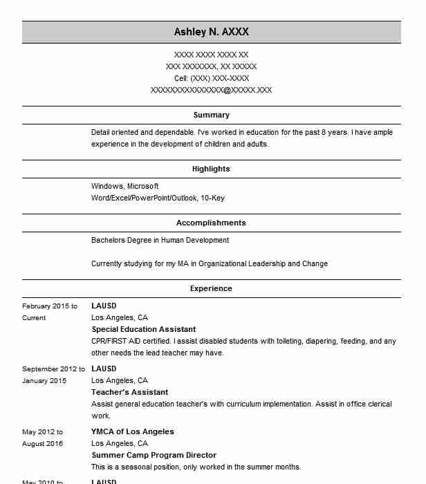 Special Education Assistant Resume Sample Resumes Misc LiveCareer