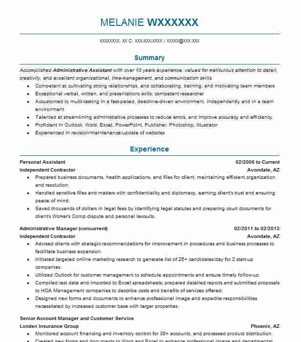 Best Personal Assistant Resume Example LiveCareer