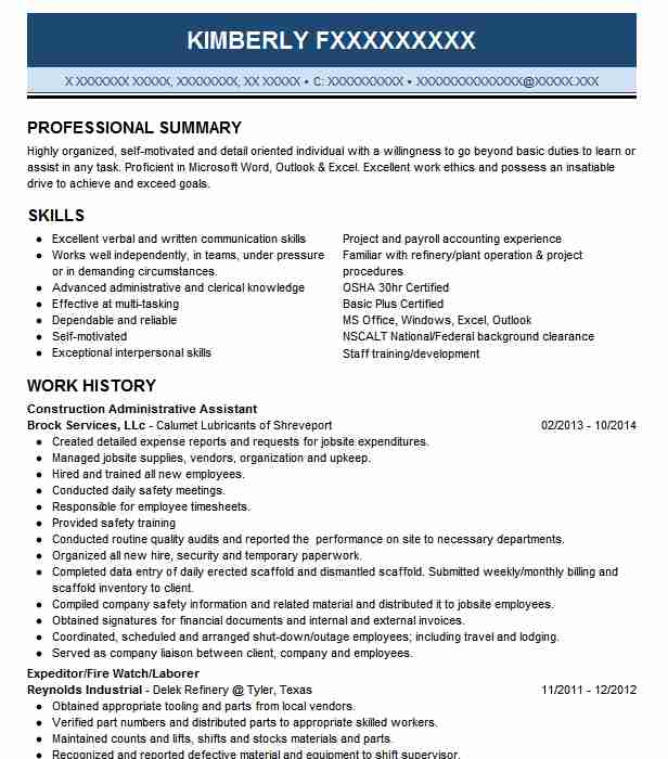 Construction Administrative Assistant Resume Sample LiveCareer