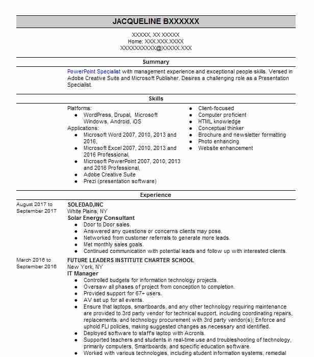 279 Crafts People And Artisans Resume Examples in New York LiveCareer - Powerpoint Presentation Specialist Sample Resume
