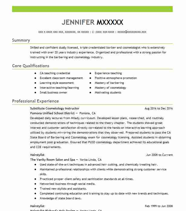resume for cosmetologist - Onwebioinnovate - resumes for cosmetologist