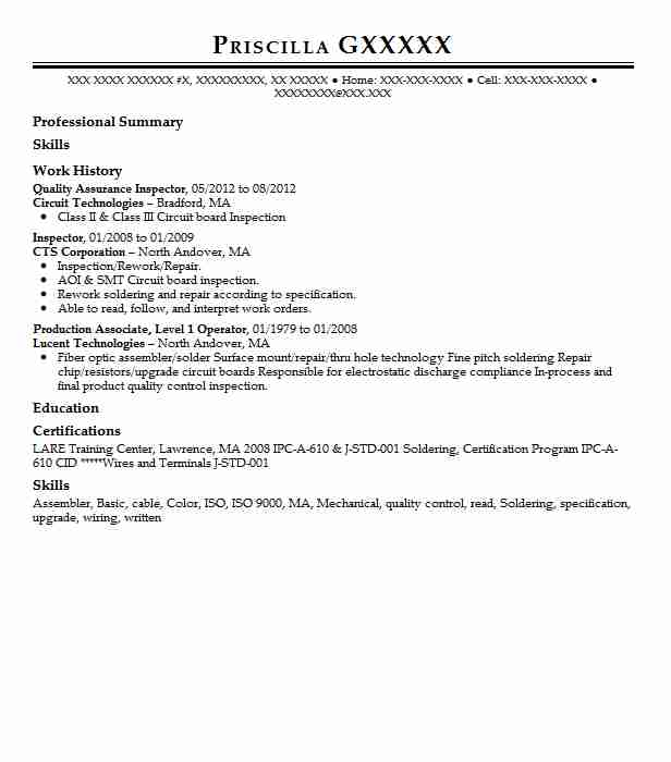 Quality Assurance Inspector Resume Sample LiveCareer