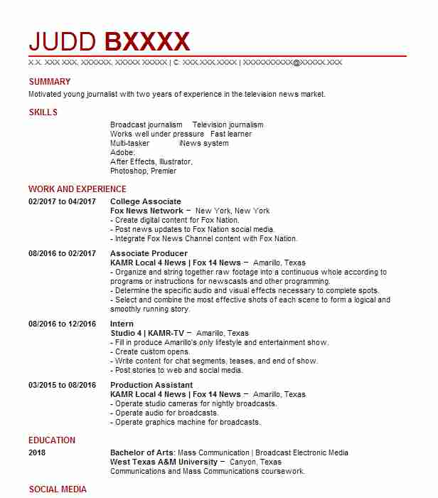 12031 Journalism Resume Examples Entertainment And Media Resumes