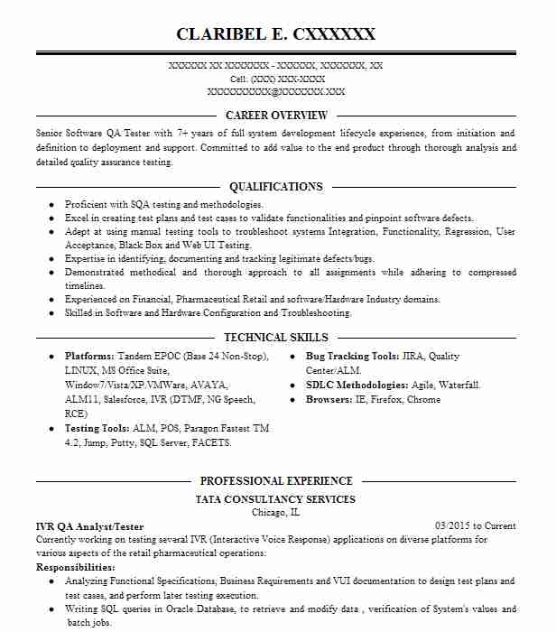 406 Quality Assurance And Testing Resume Examples in Illinois - Qa Tester Resume Sample