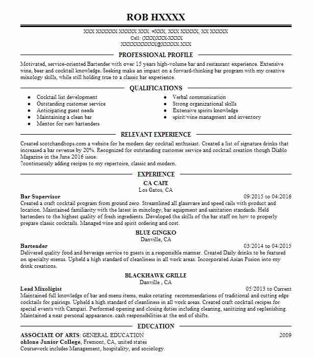 Bar Supervisor Resume Sample Resumes LiveCareer