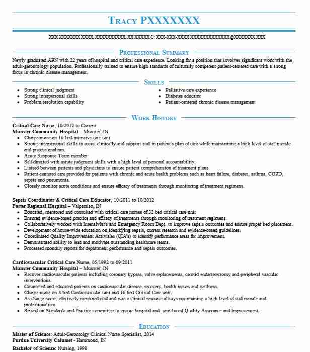 Critical Care Nurse Resume Sample Nursing Resumes LiveCareer
