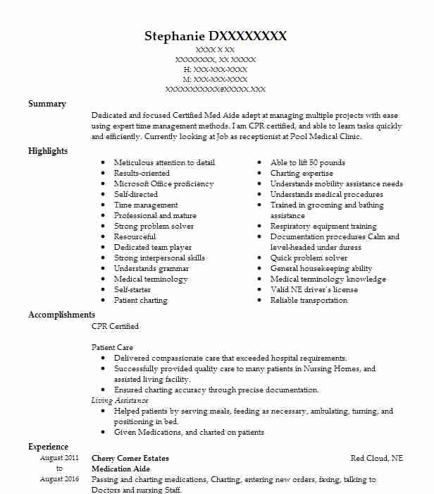 Medication Aide Resume Sample Aide Resumes LiveCareer