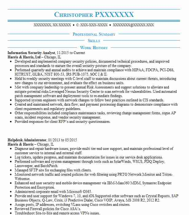 Information Security Analyst Resume Sample LiveCareer