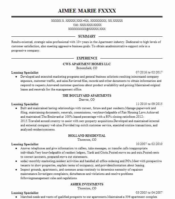 622 Property Management Resume Examples in Colorado LiveCareer - property management specialist sample resume