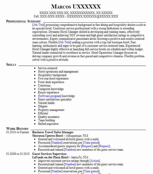 Business Travel Sales Manager Resume Sample LiveCareer