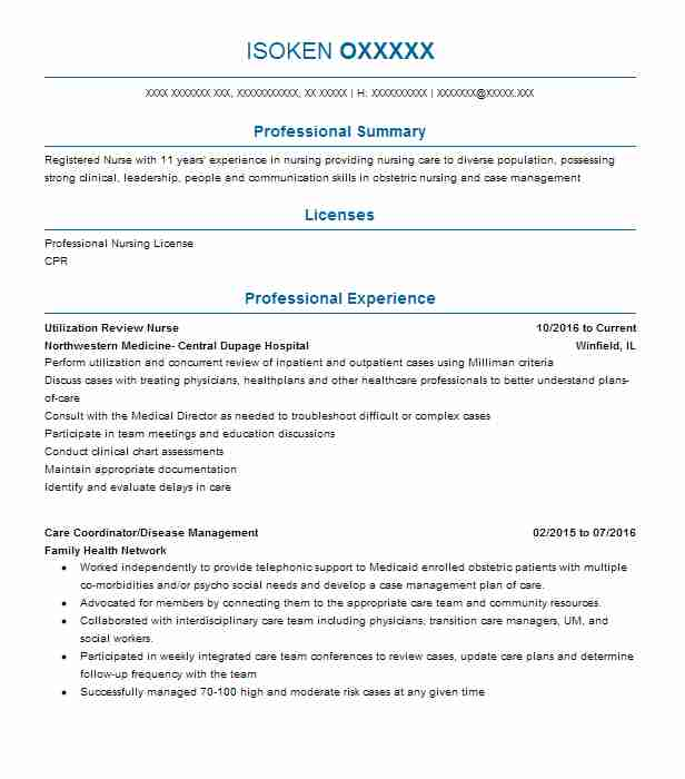Utilization Review Nurse Resume Sample Nursing Resumes LiveCareer
