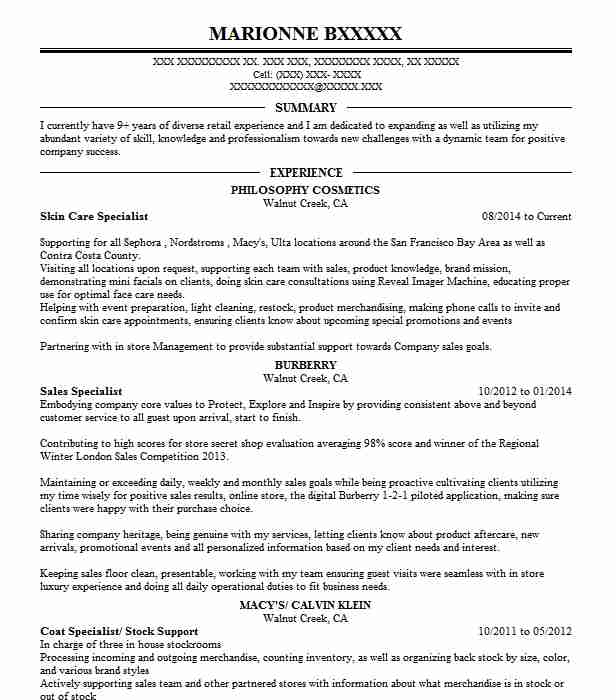 Skin Care Specialist Resume Sample Specialist Resumes LiveCareer