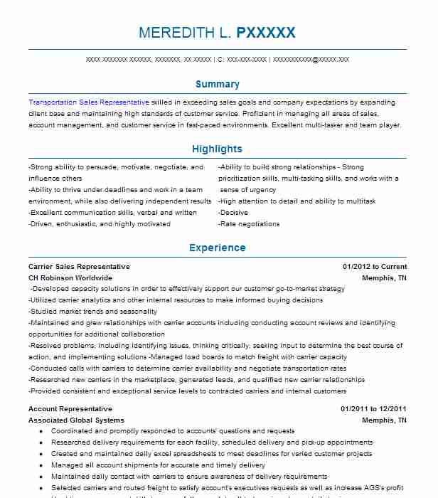 Carrier Sales Representative Resume Example (CH Robinson Worldwide