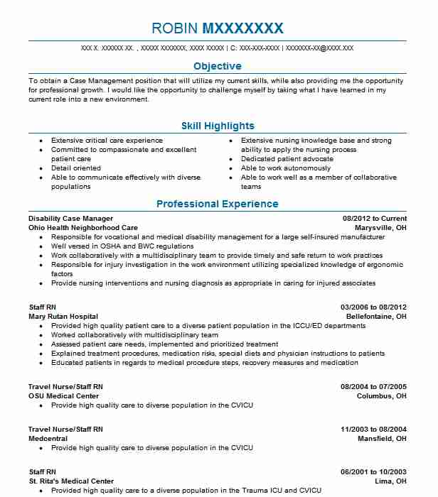 Disability Case Manager Resume Sample Manager Resumes LiveCareer
