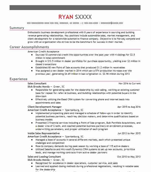 24378 Business Development Resume Examples Sales Resumes LiveCareer