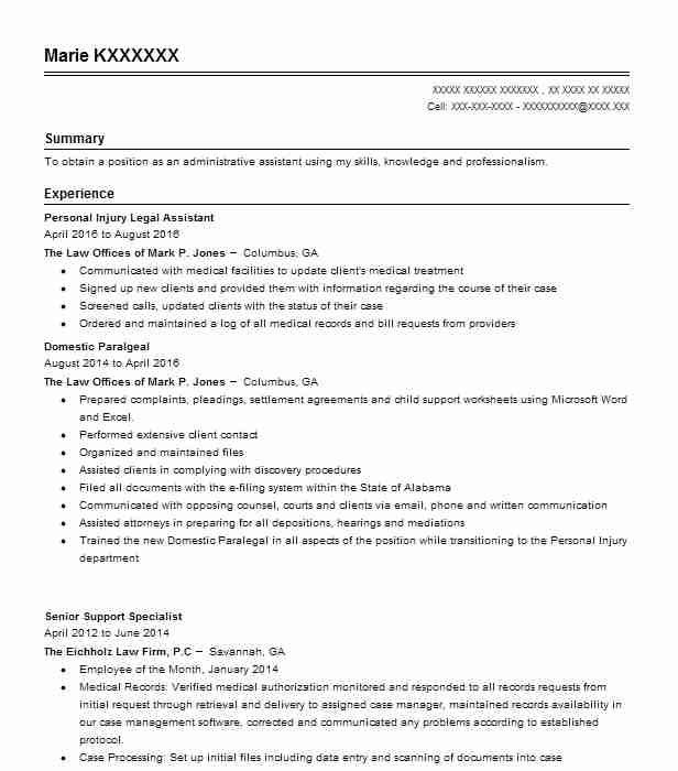 Personal Injury Legal Assistant Resume Sample LiveCareer