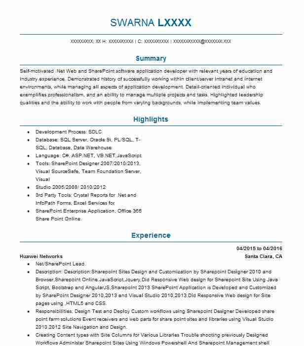 Sharepoint Developer Resume Sample Developer Resumes LiveCareer
