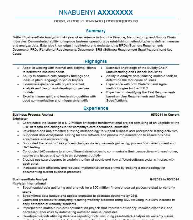 Business Process Analyst Resume Sample Analyst Resumes LiveCareer