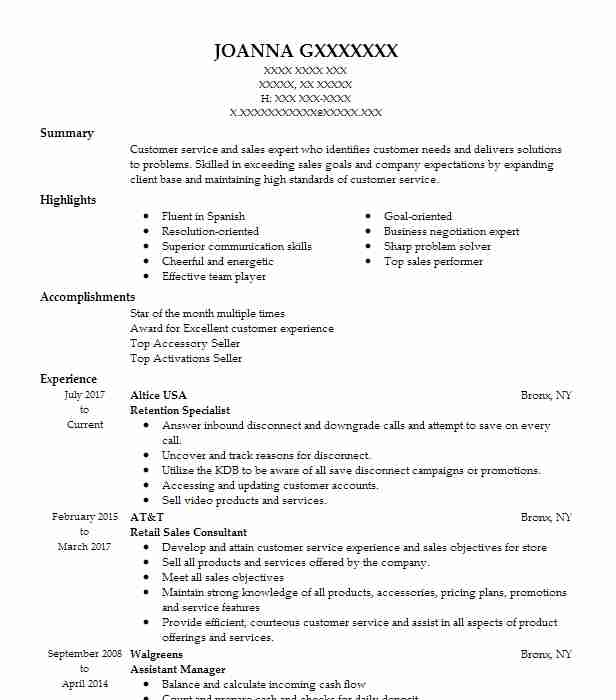 Retention Specialist Resume Sample Specialist Resumes LiveCareer