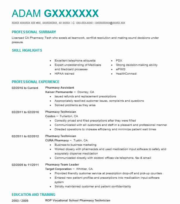 5414 Pharmacy Technicians Resume Examples in California LiveCareer - Kaiser Permanente Pharmacist Sample Resume