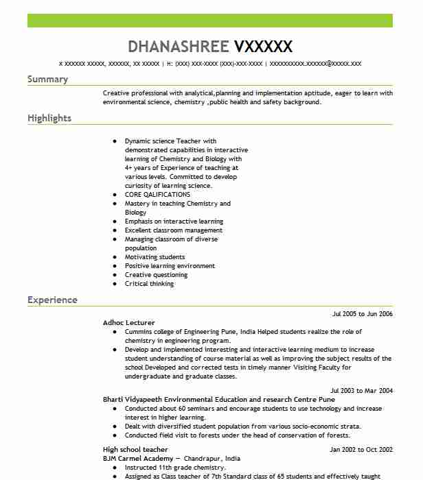 High School Teacher Resume Sample Teacher Resumes LiveCareer