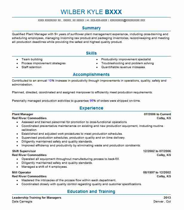 Plant Manager Resume Sample Resumes Misc LiveCareer