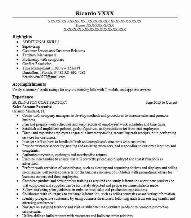 Sales Account Executive Resume Sample Sales Resumes LiveCareer