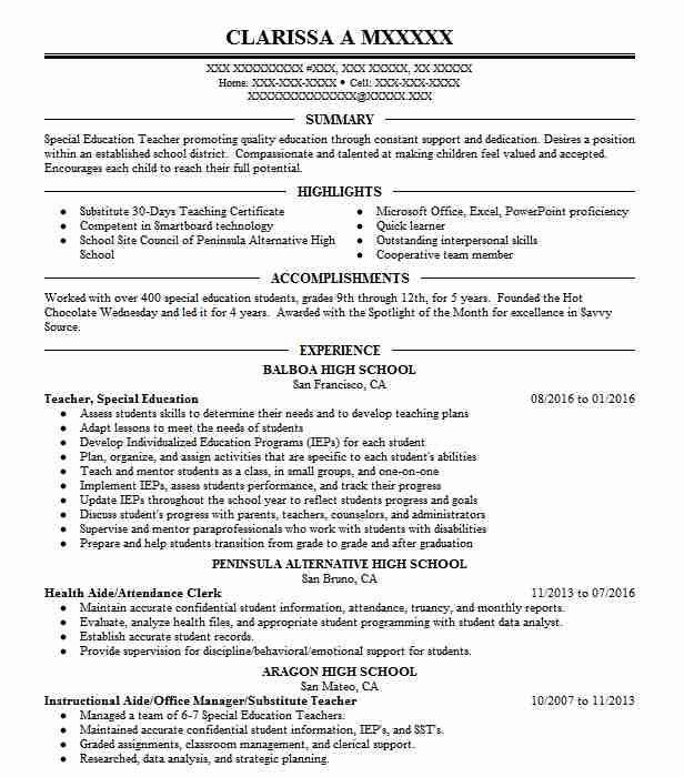 4631 Special Education Resume Examples in California LiveCareer - special education resume
