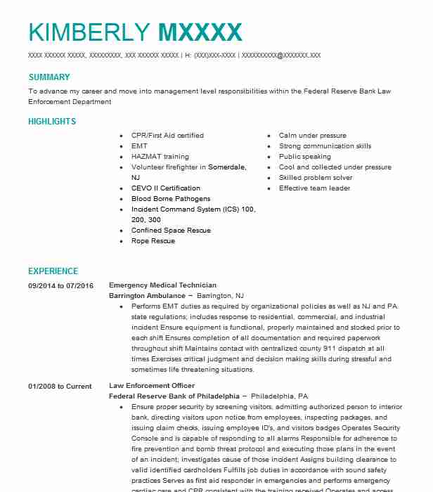 Emergency Medical Technician Resume Sample Resumes Misc LiveCareer
