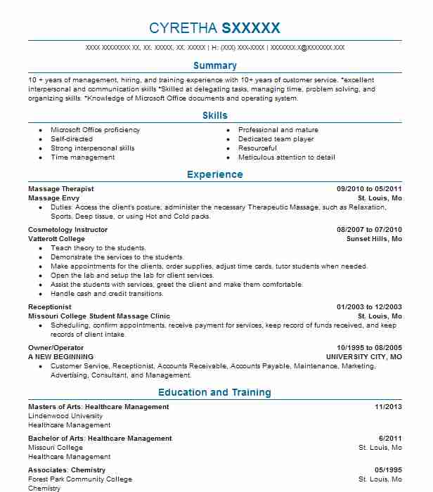 Cosmetology Resume Objectives Resume Sample LiveCareer