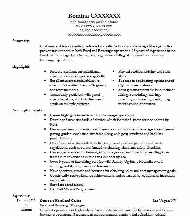 Food And Beverage Manager Resume Sample Resumes Misc LiveCareer