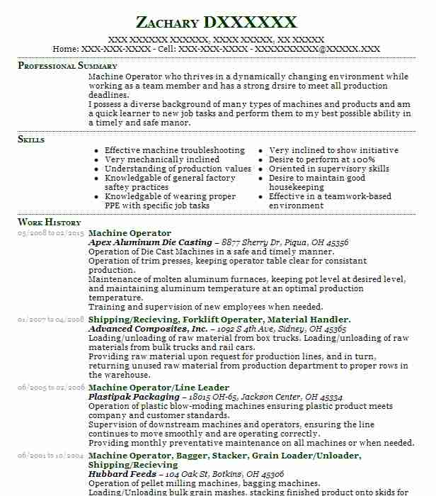 sample resume for flat die machine operator