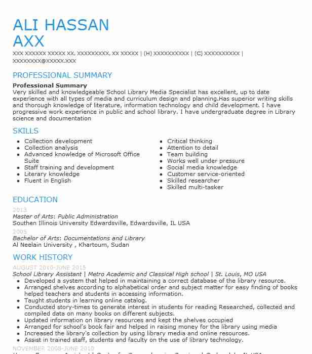 School Library Assistant Resume Sample LiveCareer
