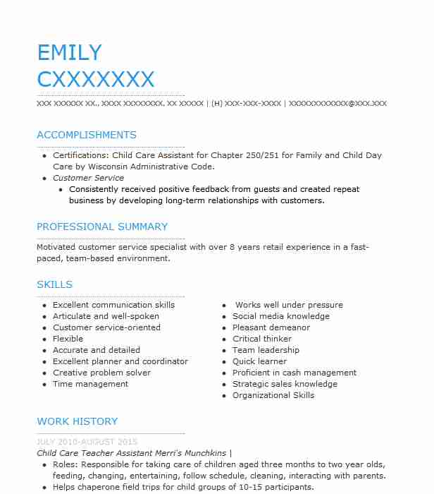 Child Care Teacher Assistant Resume Sample LiveCareer