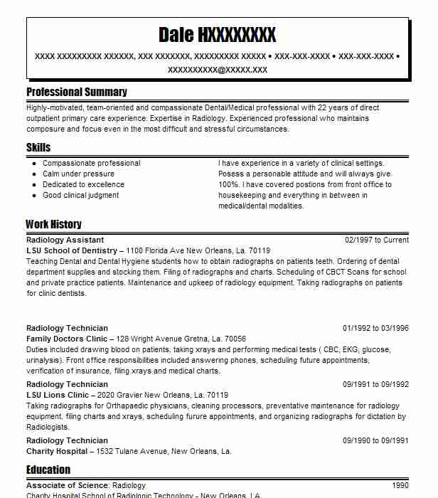 Radiology Assistant Resume Sample Assistant Resumes LiveCareer