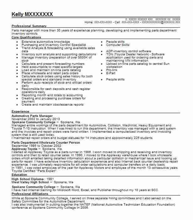Automotive Parts Manager Resume Sample Manager Resumes LiveCareer