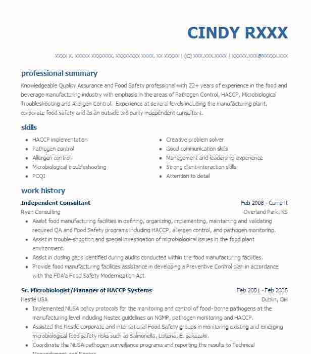 115 Food Processing Resume Examples in Kansas LiveCareer