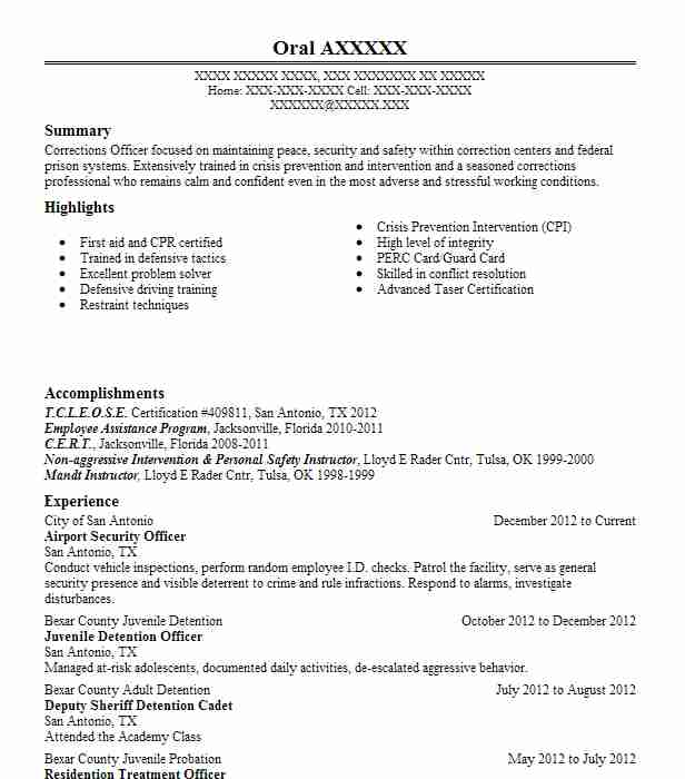 Airport Security Officer Resume Sample Officer Resumes LiveCareer