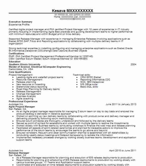 Agile Project Manager Resume Sample Manager Resumes LiveCareer