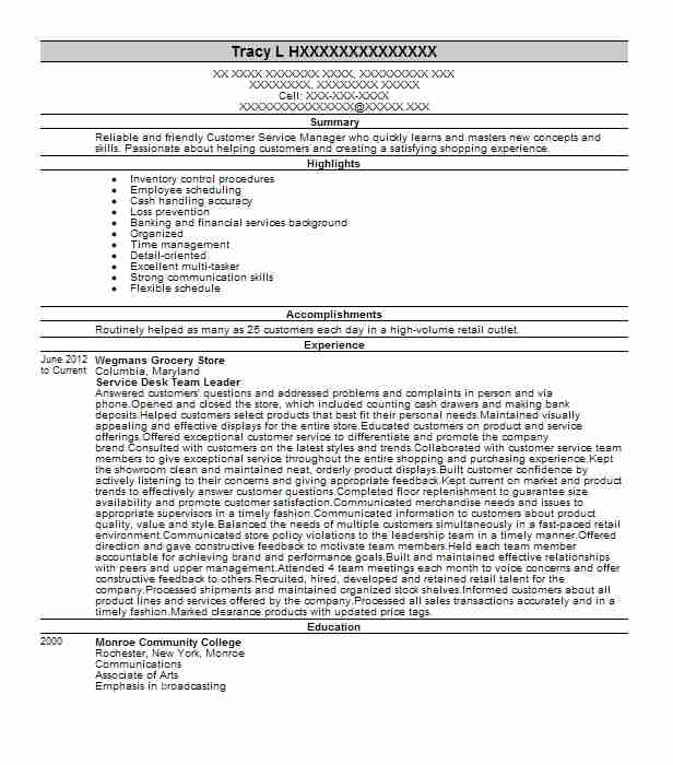 Service Desk Team Leader Resume Sample Leader Resumes LiveCareer