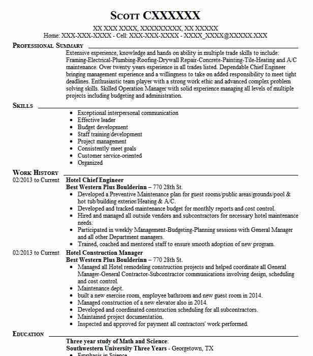Hotel Chief Engineer Resume Sample Engineering Resumes LiveCareer
