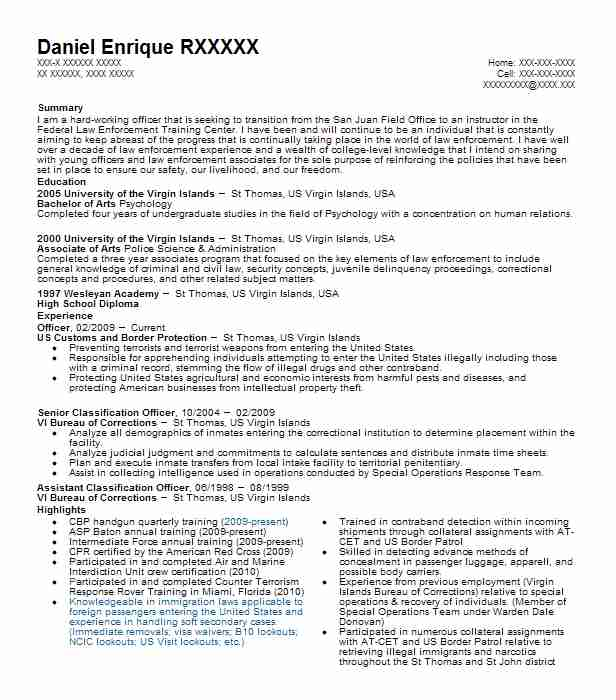 Customs And Border Protection Officer Resume Sample LiveCareer