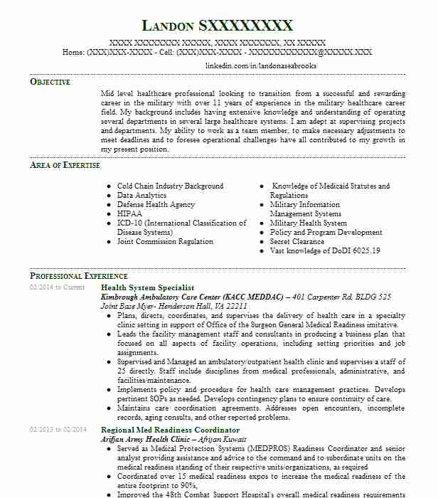 Health System Specialist Resume Sample LiveCareer