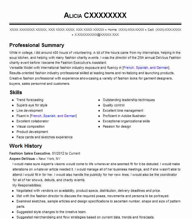 Fashion Sales Resume - A Good Owner Manual Example \u2022