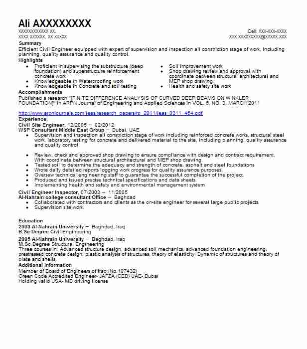 Civil Site Engineer Resume Sample Engineering Resumes LiveCareer