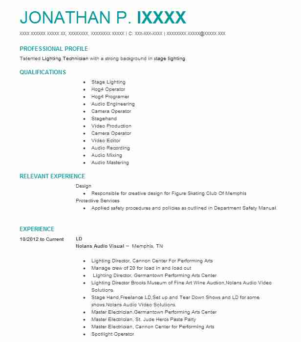 693 Stage Design Resume Examples Performing Arts Resumes LiveCareer
