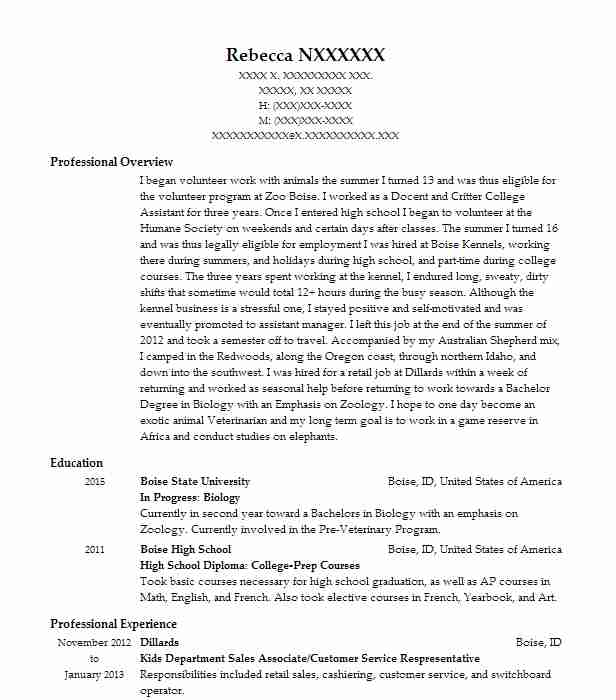 12 Zoology Resume Examples in Idaho LiveCareer