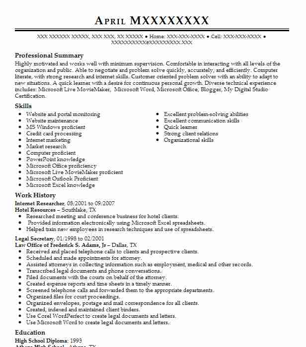 Internet Researcher Resume Sample Researcher Resumes LiveCareer